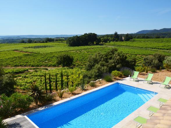 villa met zwembad tussen de wijngaarden huren Zuid-Frankrijk