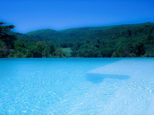 groot overloopzwembad met poolhouse en buitenkeuken